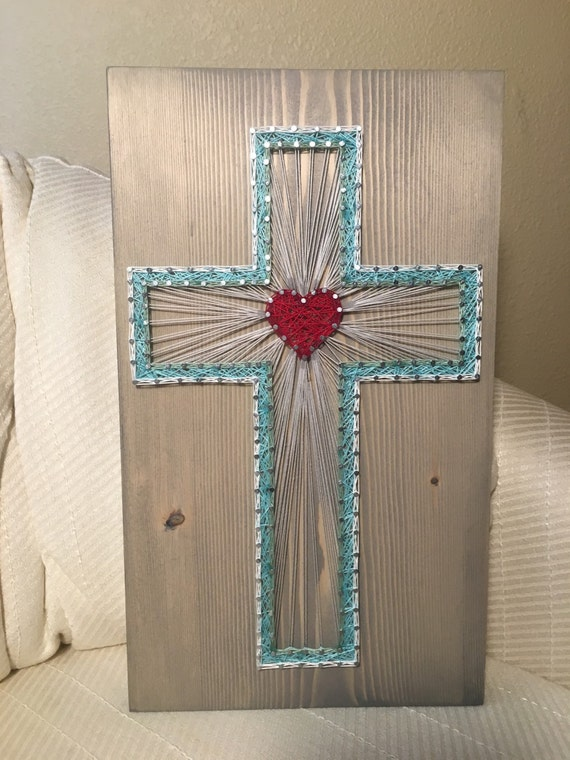 custom cross string art religious christian decor home. Black Bedroom Furniture Sets. Home Design Ideas