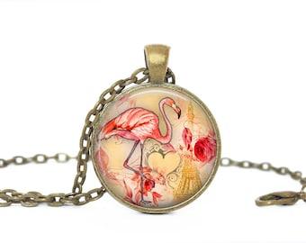 Pink Flamingo Necklace, Pink Flamingo Jewelry, Bird Necklace, Bird Jewelry, Pink Flamingo Key Chain