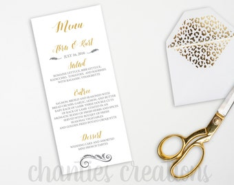 "PRINTABLE Gold Wedding Menu. Gold Wedding Menu. Printable Wedding Menu. 4x9"" and 5X7"""