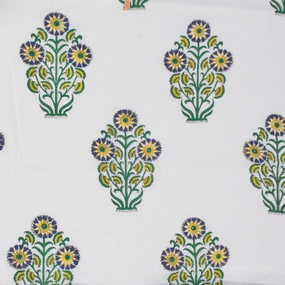5 Yards Hand Block Printed Fabric Mughal Print Fabric