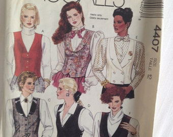 Misses LINED VEST sew pattern Size 12 easy McCall's #4407