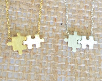 Puzzle Necklace small, gold or silver, short dainty delicate puzzle pieces necklace