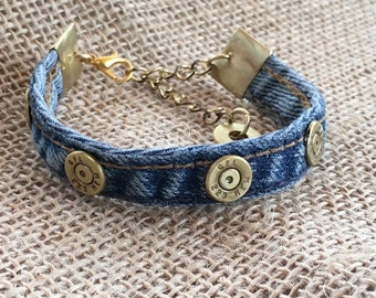 223 Caliber Bullets and Brown or Blue Denim Bracelets with Flattened Bullet Casing End Caps, Womens jewelry, Mens jewelry, Upcycled bullets
