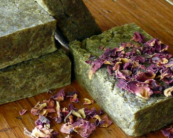 Silk Castile Milled with Organic dried rose petals. Handmade Small Batch, goat milk soap.  Avocado oil, Apricot Kernel Oil and Vitamin E oil