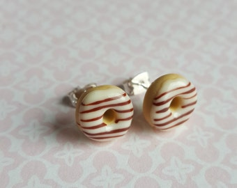 Food jewllery, iced donut post earrings, polymer clay food, white and chocolate doughnuts, silver plated stud earrings