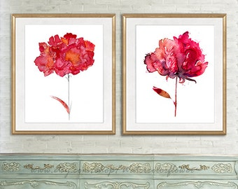 Peony, red peony, abstract flowers, red flower, painting red flower, watercolor florl, botanical print, red wall decor -  10/29