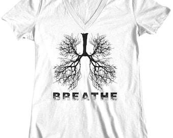 Breathe, Womens t shirt, tee shirt, Custom Printed Tee, Lungs