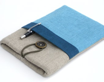 Any Brand Tablet Case/Kindle Case/ipad 2017 case/Kindle Paperwhite Sleeve/iPad Mini/Nook Tablet/Kobo Glo-Linen Tablet with blue pocket
