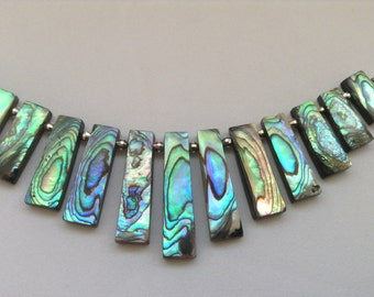 Abalone statement necklace. 925 sterling silver necklace. Bib necklace