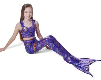 Swimmable Mermaid Tail in Purple Starburst