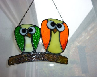 Pair Owl suncatcher