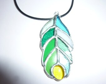 Stained glass Feather pendant.