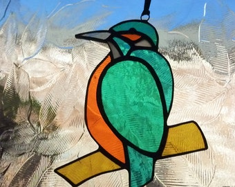 Stained glass Kingfisher suncathcer