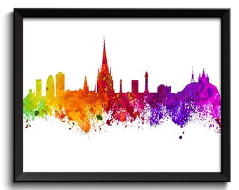Barcelona Skyline Colorful Spain Europe City Watercolor Cityscape Poster Print Modern Abstract Landscape Art Painting Red Purple Pink Yellow