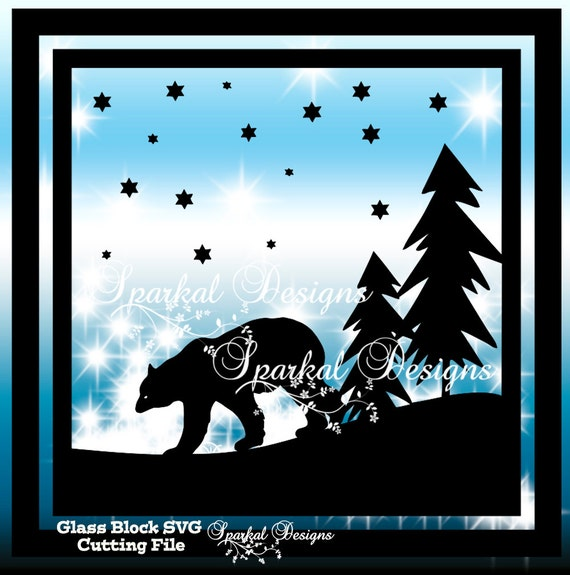Christmas Glass Block File Bear In Winter Scene Svg Cut File