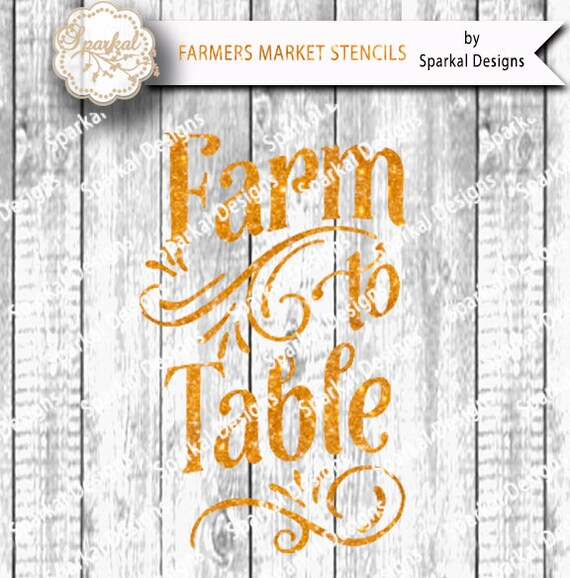 on sale farm to table sign stencil svg digital quotes cutting. Black Bedroom Furniture Sets. Home Design Ideas