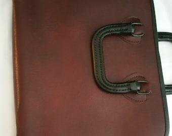 Bokara Leather Portfolio Oxblood and Black Leather