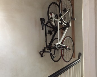 Vertically hanging bicycle storage