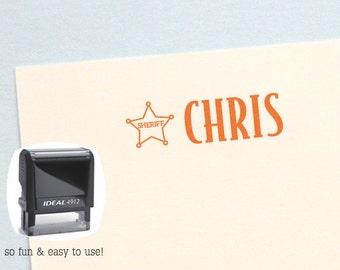 Personalized Kids Gifts, Sheriff Star Self Inking Name Stamp, Personalized Birthday Gift, Kids Name Stamp, Custom Name Stamp, AK111