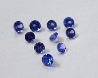 AA quality lot of 10 pic.Blue Tanzanite round cut faceted loose gemstone with free shipping