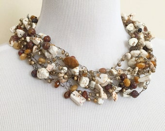 Chunky Wire Crochet Necklace with Various Cream and Brown Colored Beads