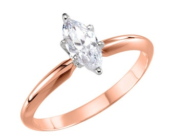 14K Rose Gold Marquise CZ Engagement Ring, Yellow Cubic Zirconia Engagement, 1 Carat Marquise ring, 1.5 Carat Marquise Ring, bridal,