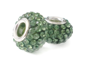 Gorgeous Green Czech Crystals ~ Charm Beads (2 beads - one pair)
