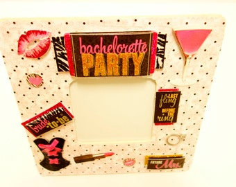 Girl's Night Out, Bachelorette Party Picture Frame, pink Bachelorette Frame, Girly Frame, Slumber Party, Bridesmaid Gift, Sin City,Las Vegas