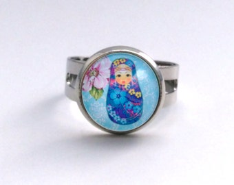 Blue Babushka Doll with Flower Russian Doll Hair Pin Clip Cabochon Silver Ring