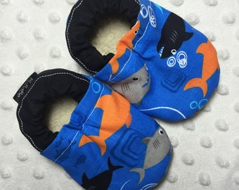 Soft Sole Baby Shoes Baby Boy Shoes Baby Booties Crib Shoes Toddler Shoes Black and Orange Sharks Cotton Fabric Faux Fur Faux Suede Handmade