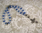 Anglican Prayer Beads-Rosary-Blue and White Crystals