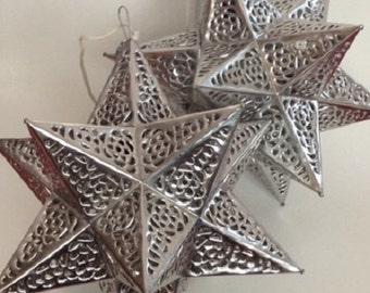 Set of (2) LG Mexican Tin Star Lanterns - Silver Finish - Tin Star, Mexican Star Light