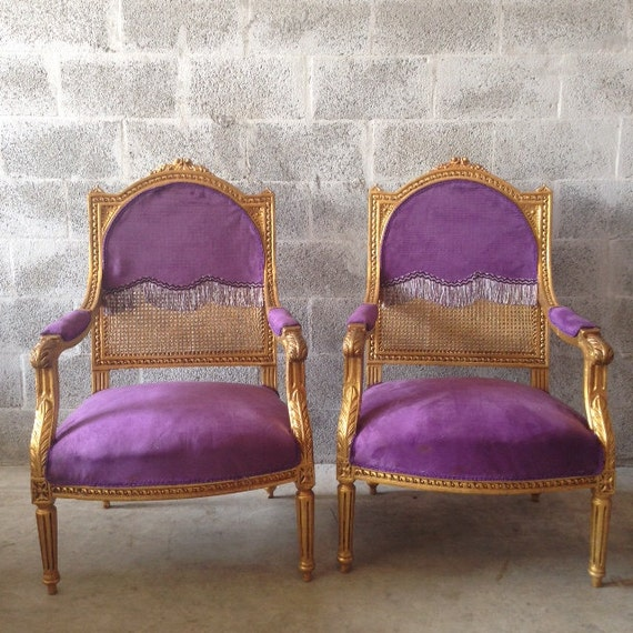 French purple chair antique louis xvi baroque rococo chair arm rest