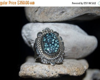 ON SALE Navajo Spider Web Turquoise Sterling Silver Ring - Size 6