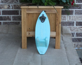 Surf Board - Beer Bottle Opener sign, Man cave, Beer Sign, Bottle Opener, Beach Theme