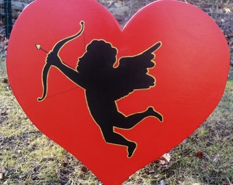 Valintine's Day heart with Cupid lawn stake