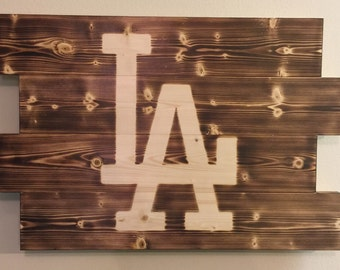 Small Los Angeles Dodgers Baseball man cave wood sign 21x14