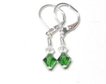 Emerald Green Swarovski Crystal Earrings
