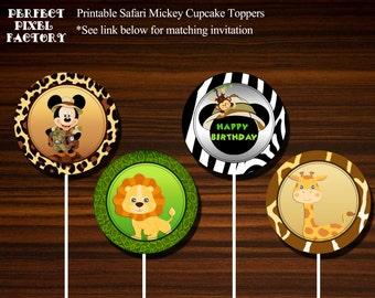 Cupcake Toppers,Safari Mickey cupcake toppers,printable cupcake toppers,Safari Mickey invitation,Safari Mickey Birthday,Instant Download