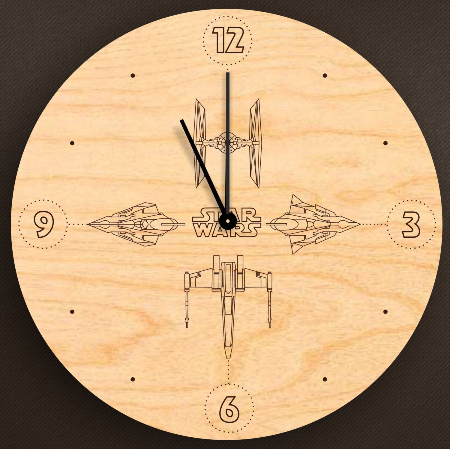 star wars wall clock wooden s interiors star by. Black Bedroom Furniture Sets. Home Design Ideas