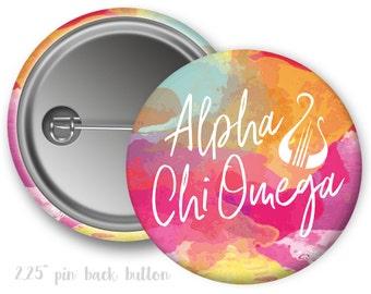 "AXO Alpha Chi Omega Watercolor Script Single or Bulk 2.25"" Pinback Button"