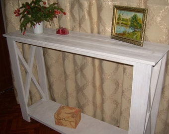 "White console table, rustic console table ,large console table ,hall console table ,wood console,console table,sofa table  ""Snow White"""