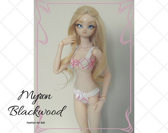Bjd Obitsu 50cm. Pink & White Lingerie set. Last chance! Ends august 30.
