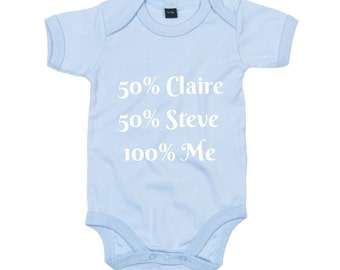 Personalised 50 percent Mum/Dad Baby Grow. Novelty New Born, Christening Gift