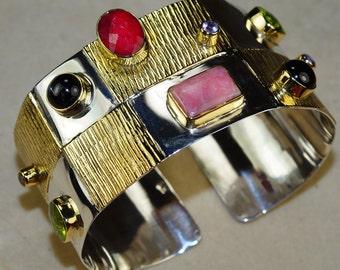 Fancy Peridot, Ruby, Pink Opal, Tourmaline, Onyx, Citrine Cuff  set in 925 Sterling Silver Bracelet, Adjustable