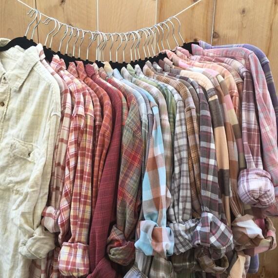 pastel plaid flannel shirts you choose all sizes soft worn. Black Bedroom Furniture Sets. Home Design Ideas