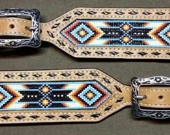 Spur Straps - Leather, Inlaid Beading, Buckstitched, Native American Theme