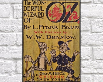 WOOD WIZARD OF Oz Book cover print Wood wall art Rustic panel effect design Vintage L. Frank Baum Wizard of Oz Book cover wood art print