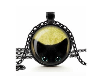 Cute Cheeky Black Cat Peeking Pendant Necklace Glass Cameo Cabochon Tile Necklace Jewellery