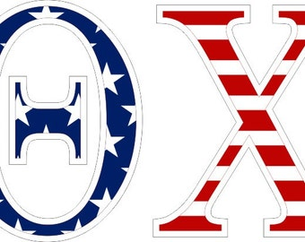 theta chi american flag greek letter sticker 25